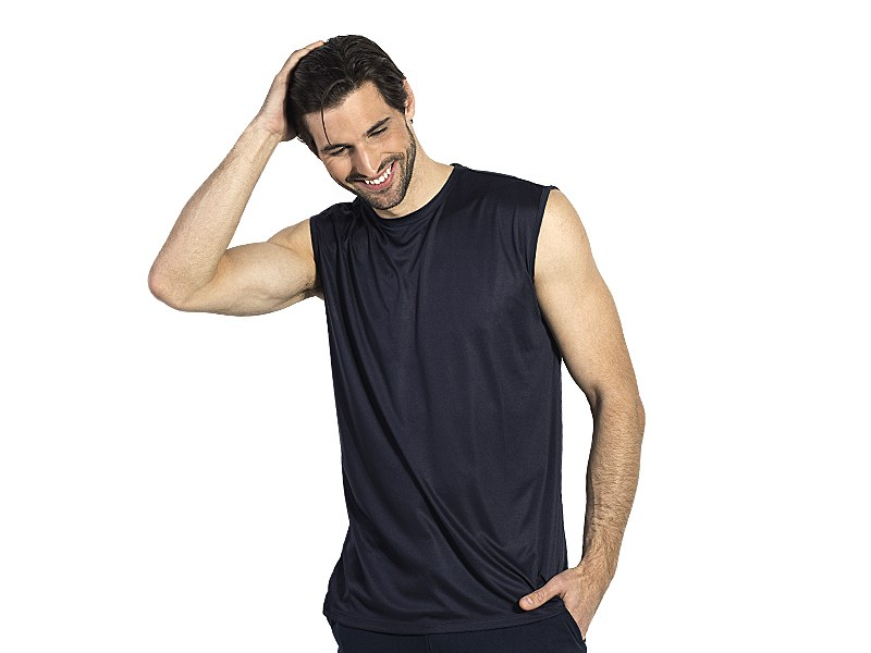 Sports sleeveless T-shirt, 100% polyester