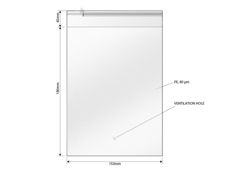 Polybag für PURE Tuch, Grösse 15 x 18 cm