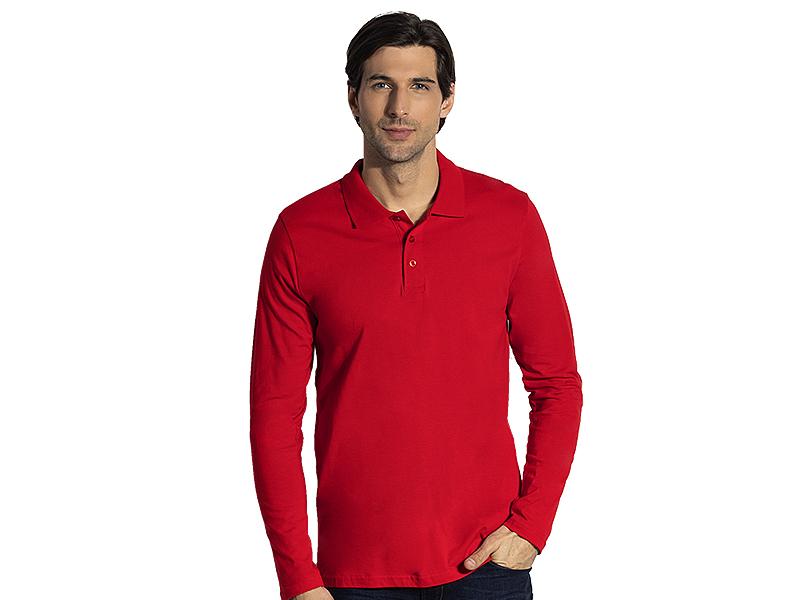 Herren Langarm-Poloshirt aus Baumwolle, Jersey