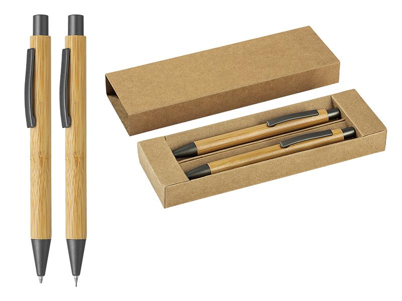 Bamboo mechanical pencil and ball pen set