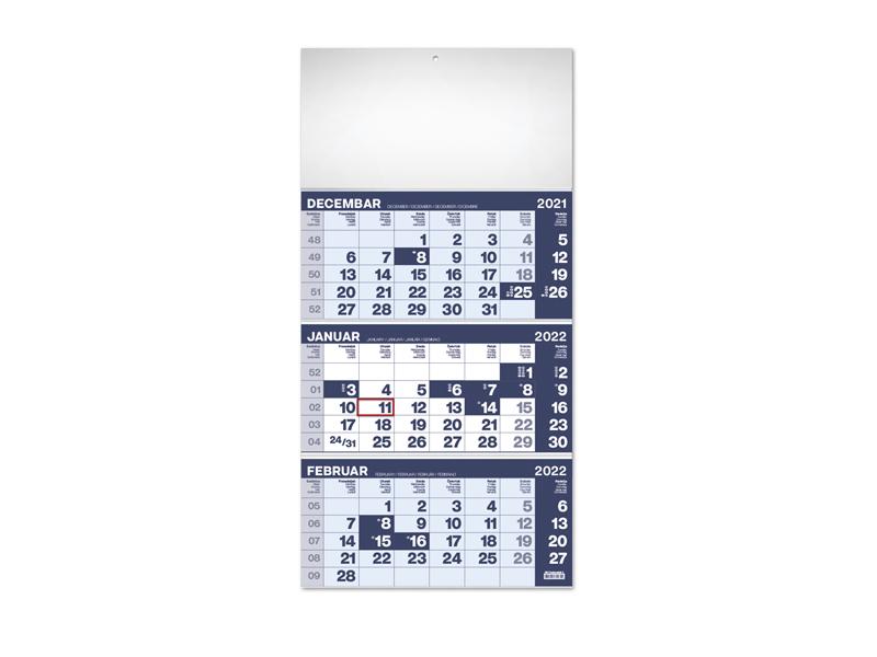 Wandkalender , 3-teilig, 3 x 12 Seiten, Format A3